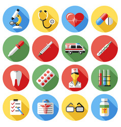 digital red yellow blue medical icons vector image