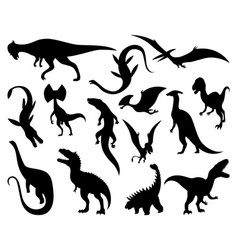 Dinosaurs silhouettes set dino monsters icons vector