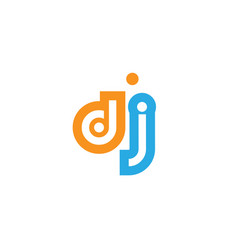 Dj d j orange blue alphabet letter logo vector