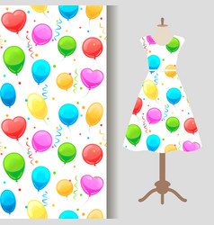 Dress fabric pattern with party baloons vector