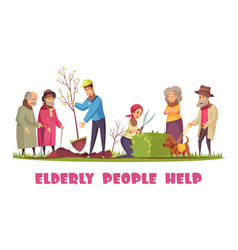 elderly people help banner vector image