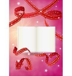 Empty book and ribbons vector