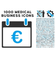 Euro calendar day icon with 1000 medical business vector