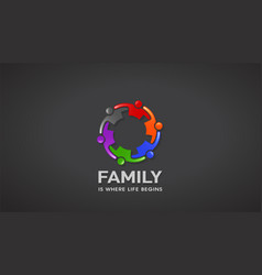 Family people going together reunion vector