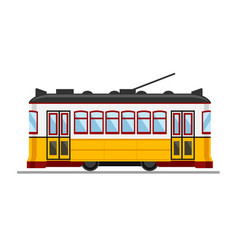 famous vintage yellow 28 tram in lisbon portugal vector image