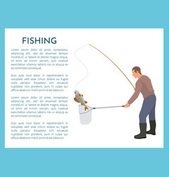 Fishing with tackle and landing net for fish catch vector