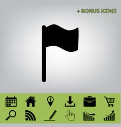 flag sign black icon at gray vector image