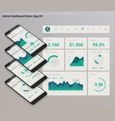 Flat design responsive admin dashboard ui mobile vector