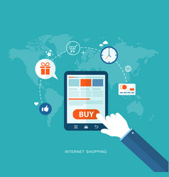 flat design with icons internet shopping vector image