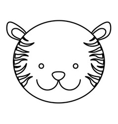 frotn view silhouette face cute tiger animal vector image