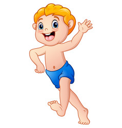 Funny little boy cartoon wearing a shorts vector
