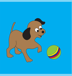 funny puppy with a ball vector image vector image