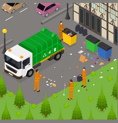 garbage recycling card poster concept 3d isometric vector image