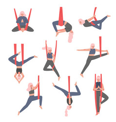 Girl doing air yoga set slim young woman in vector