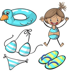 Girl in bikini and swimming set vector image