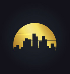Gold cityscape building urban logo vector