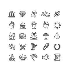 greece black thin line icon set vector image