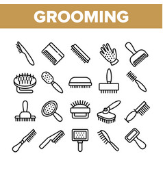 Grooming brush for pet collection icons set vector