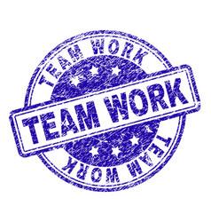 Grunge textured team work stamp seal vector