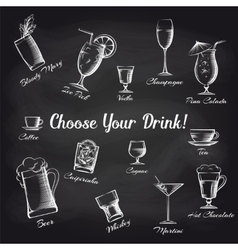 Hand drawn cocktails set on chalkboard vector