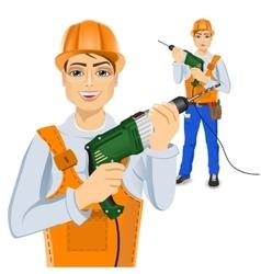 handyman holding green drill vector image