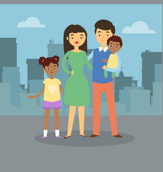 happy family walks around city banner father vector image