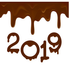 Happy new year 2019 banner with chocolate drips vector