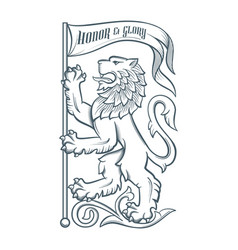 Image heraldic lion with flag vector