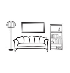 interior furniture sofa floor lamp book shelf vector image