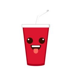 isolated happy soda emote vector image