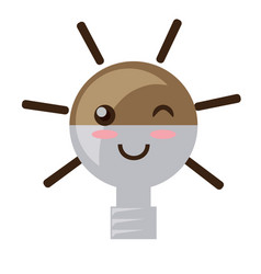kawaii light bulb vector image