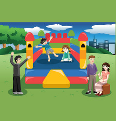 Kids playing in a bouncy house vector