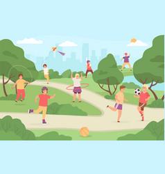 Kids sport outdoor children play in park vector