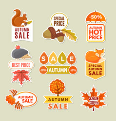 labels and badges of autumn discount stickers vector image