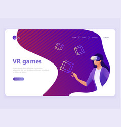 landing page template vr gaming video gaming vector image