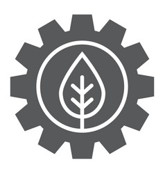Leaf in gear glyph icon ecology lamp and energy vector
