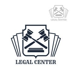 Legal center icon of gavel and law code vector