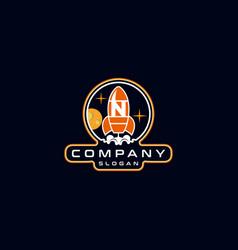 Letter n rocket logo design vector