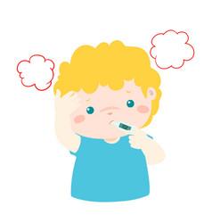 little boy got high temperature cartoon vector image