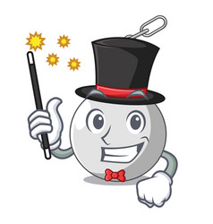 Magician wrecking ball attached character on vector