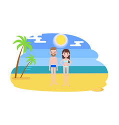man and woman in swimsuits on the beach with palms vector image