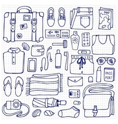 Man Travel Doodle Set vector image
