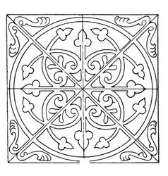 Medieval square panel is decorated with a unique vector