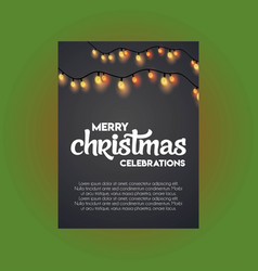 merry christmas glowing light on black background vector image