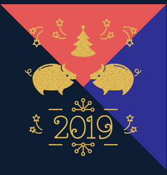 modern happy new year card - 2019 year pig vector image