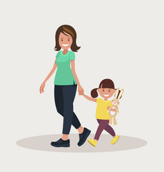 Mother and daughter go together vector