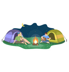 night camping flat happy couple and man playing vector image