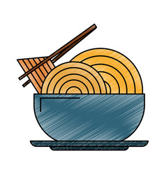 Noodle on dish scribble vector