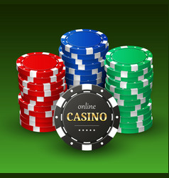 online casino banner realistic 3d plastic chips vector image