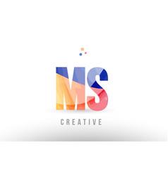 Orange blue alphabet letter ms m s logo icon vector